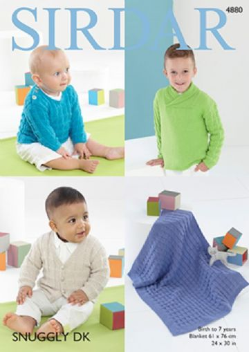 Boys sweaters, cardigan and blanket , Sirdar DK Knitting Pattern 4880